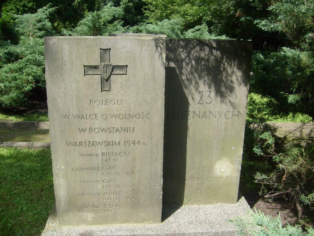 Stare nagrobki, z krzyżami Grunwaldu, na Cmentarzu Powstańców Warszawy. Fot. Michał Pawlik